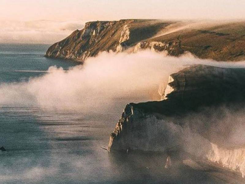 rocks, sea and waterfalls of fog – the Jurassic Coast drone adventures of Arran Witheford